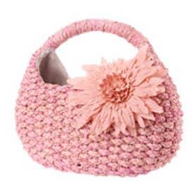 クーコ COOCO コサージュ付メイズクリ手かごバッグ (ピンク)