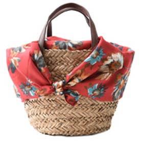 クーコ COOCO 花柄スカーフ付かごバッグ (レッド)
