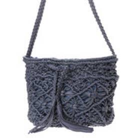 クーコ COOCO ロウヒモ編み込みフリンジ巾着バッグ (ネイビー)