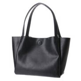 クーコ COOCO フェイクレザーシンプルトートバッグ (ブラック)