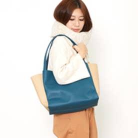 クーコ COOCO フェイクレザーシンプルトートバッグ【A4サイズ対応】 (ブルーグリーン)