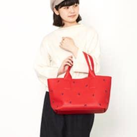 クーコ COOCO 刺繍フェイクレザートート(レッド)