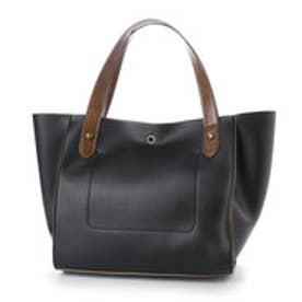 クーコ COOCO 巾着付きコバ配色BOXトートバッグ (ブラック)