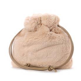 クーコ COOCO 巾着ファーバッグ (ライトベージュ)