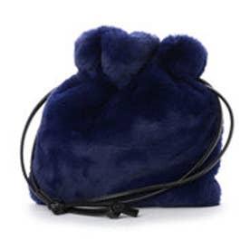 クーコ COOCO 巾着ファーバッグ (ネイビー)
