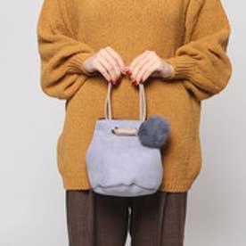 クーコ COOCO ラビットポンポン付スエード巾着トートバッグ (サックス)