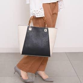 クーコ COOCO バンブーハンドルトートバッグ【A4サイズ対応】 (ブラック)