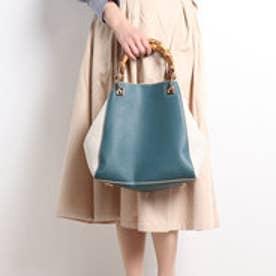クーコ COOCO バンブーハンドルトートバッグ【A4サイズ対応】 (ブルーグリーン)