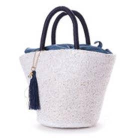 クーコ COOCO スパンコールバケツ型かごバッグ (ホワイト)