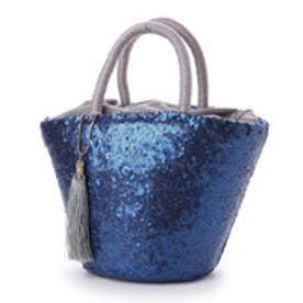 クーコ COOCO スパンコールバケツ型かごバッグ (ブルー)