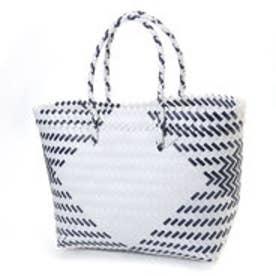 クーコ COOCO ダイヤ柄編みトートバッグバッグ【A4サイズ対応】 (ホワイト)