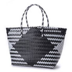 クーコ COOCO ダイヤ柄編みトートバッグバッグ【A4サイズ対応】 (ブラック)
