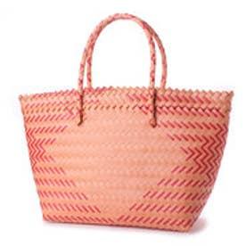 クーコ COOCO ダイヤ柄編みトートバッグバッグ【A4サイズ対応】 (オレンジ)