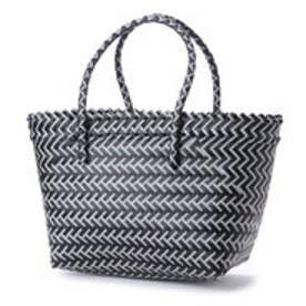 クーコ COOCO 幾何学柄編みトートバッグ【A4サイズ対応】 (ブラック)
