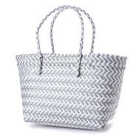 クーコ COOCO 幾何学柄編みトートバッグ【A4サイズ対応】 (グレー)