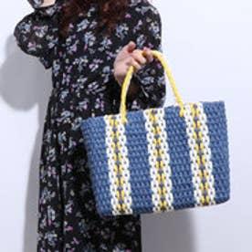 クーコ COOCO ペーパーストライプかごトートバッグ【A4サイズ対応】 (ブルー)