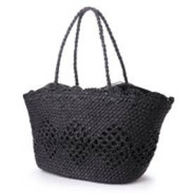 クーコ COOCO 柄編みペーパーかごバッグ【A4サイズ対応】 (ブラック)