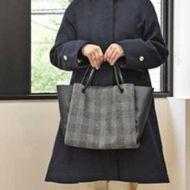 クーコ COOCO グレンチェックxフェイクレザーアオリトートバッグ【A4サイズ対応】 (ブラック)