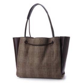 クーコ COOCO グレンチェックxフェイクレザーアオリトートバッグ【A4サイズ対応】 (ブラウン)