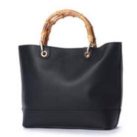 クーコ COOCO バンブーハンドルパンチングフェイクレザートートバッグ【A4サイズ対応】 (ブラック)