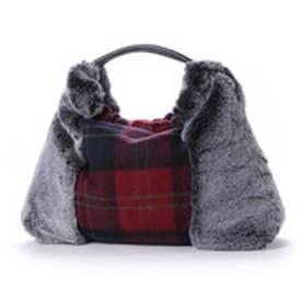 クーコ COOCO エコファーx起毛生地丸ハンドルトートバッグ【A4サイズ対応】 (ブラック)