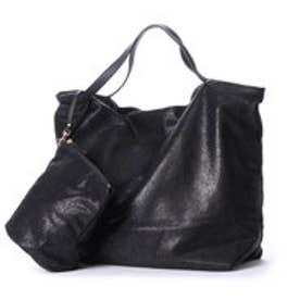 クーコ COOCO スエード風ポケッタブルトートバッグ【A4サイズ対応】 (ブラック)