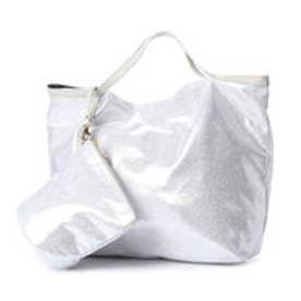クーコ COOCO スエード風ポケッタブルトートバッグ【A4サイズ対応】 (シルバー)