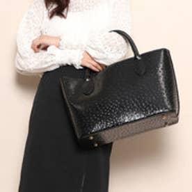 クーコ COOCO エナメルオーストリッチ型押フェイクレザートートバッグ【A4サイズ対応】 (ブラック)