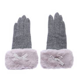 クーコ COOCO 【タッチパネル対応】2WAYファー付きジャージ手袋 (グレー)