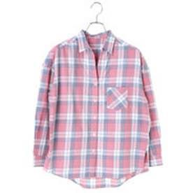 アースミュージックアンドエコロジー earth music&ecology 胸ポケット付きゆるチェックシャツ (Red)