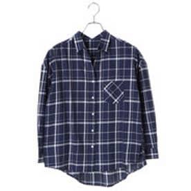 アースミュージックアンドエコロジー earth music&ecology 胸ポケット付きゆるチェックシャツ (Navy)