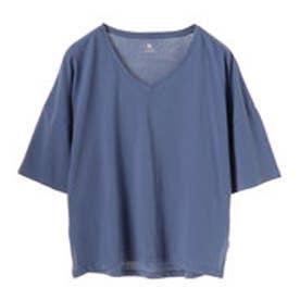 アースミュージックアンドエコロジー earth music&ecology 5分袖VネックTシャツ (Blue)