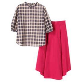 アースミュージックアンドエコロジー earth music&ecology SET2点 フリルシャツ+スカート (Dark Pink)