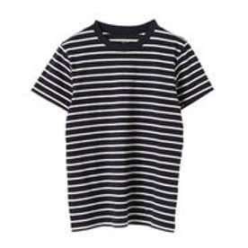 イーハイフンワールドギャラリー E hyphen world gallery クルーネックボーダーTシャツ (Dark Navy)