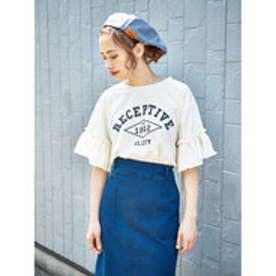 イーハイフンワールドギャラリー E hyphen world gallery フリルスリーブカレッジプリントTシャツ (Off White)