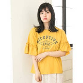 イーハイフンワールドギャラリー E hyphen world gallery フリルスリーブカレッジプリントTシャツ (Yellow)