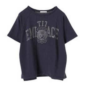 イーハイフンワールドギャラリー E hyphen world gallery リメイク風カレッジプリントTシャツ (Navy)