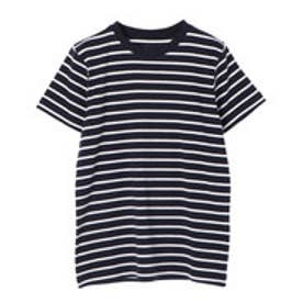 イーハイフンワールドギャラリー E hyphen world gallery クルーネックボーダーSSTシャツ (Dark Navy)