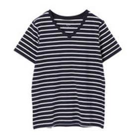 イーハイフンワールドギャラリー E hyphen world gallery VネックボーダーSSTシャツ (Dark Navy)