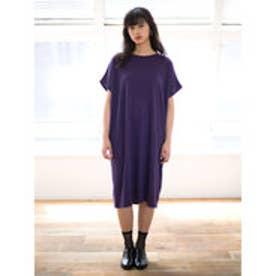 イーハイフンワールドギャラリー E hyphen world gallery フレンチロールアップスリーブワンピース (Purple)