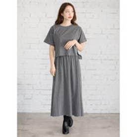 イーハイフンワールドギャラリー E hyphen world gallery Tシャツセットマキシワンピース (Charcoal Gray)