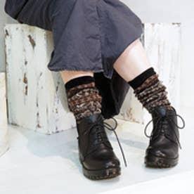 アシナガオジサン あしながおじさん 編み上げショートブーツ (ブラック)