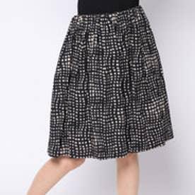 カーラ Cara スクエアプリント ギャザーフレアスカート (ブラック×トープベージュ)