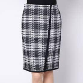 カーラ Cara チェック柄 タイトニットスカート (ブラック×オフホワイト)
