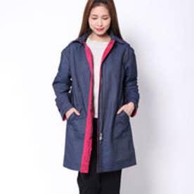 カーラ Cara デニム調メモリー素材 配色リバーシブルコート (ネイビーブルー×ピンク)