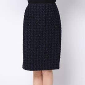 カーラ Cara リボンヤーン ツイードタイトスカート (ネイビー)