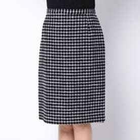 ダーマ コレクション DAMA collection チェックツイードタイトスカート (ブラック×ホワイト)