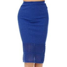 デュラス DURAS 透かし切替えリブニットスカート (BLUE)