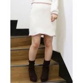 dazzlin ミディアムニットスカート(オフホワイト)