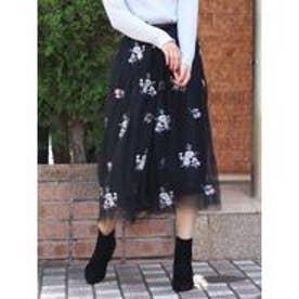 dazzlin 2WAYフラワー刺繍チュールスカート(ブラック)